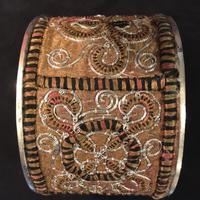 ミャオ族 バングル アンティーク刺繍布 ブラウン ボヘミアンアクセサリー boho hippie ボヘミアン ヒッピー エスニック