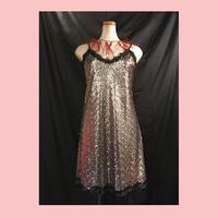 イタリア製 スパンコールキャミワンピース  ダンス衣装 ステージ衣装