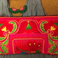 刺繍クラッチバッグ大 ポーチ ピンク boho hippie ボヘミアン エスニック モン族