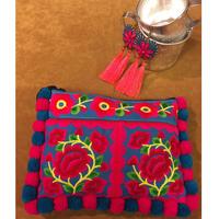 ポンポン刺繍ポーチ ブルー×ピンク エスニック boho ボヘミアン hippie モン族