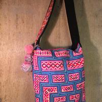 モン族 ショルダーバッグ ピンク×ブルー エスニック ヒッピー hippie  手刺繍
