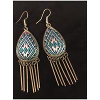 ミャオ族 ピアス 刺繍 アンティーク布 苗族 ブルー