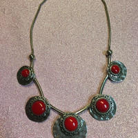 ネックレス RED  シルバーカラー エスニック boho  ボヘミアンアクセサリー