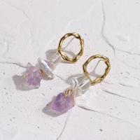 Lilac天然石パールピアス