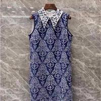 スパンコール襟レース刺繍ドレス