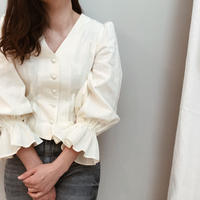 Cotton  lace volume sleeve blouse