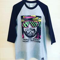 """[WWE LEGEND]""""マッチョマン""""ランディ・サベージ FACE 七分袖Tシャツ (グレー×黒)"""
