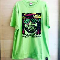 """[WWE LEGEND]""""マッチョマン"""" ランディ・サベージ FACE Tシャツ (ライムグリーン)"""