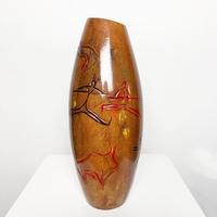Carved wood tribal art vase