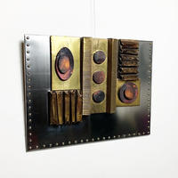 Metal collage wall art 70's