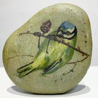 Bird painting on stone 1978's