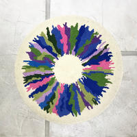 Abstract circle shag rug 80's