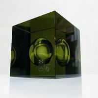 Glass cube sculpture