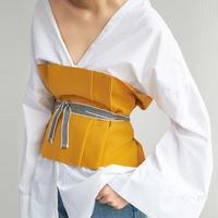 TA-032 Yellow Tuck Corset Belt