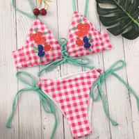 TB-018 Gingham Check Rose Embroidered Bikini