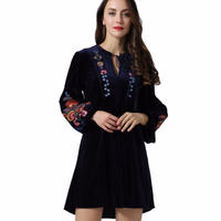 TA-025 Velvet Bohemian Embroidery One Piece