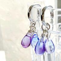 2way! earth angelsクリスタルガラスと純銀の光のフープピアス ラベンダーグラデーション