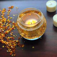 【金木犀と琥珀の季節】オーガニックキンモクセイblendアロマキャンドル6個&琥珀と水晶のキャンドルホルダー