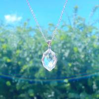 宝石質ダイヤモンドカット多面体クリスタルsilver925necklace最高級水晶