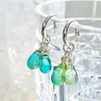 2way! earth angelsクリスタルガラスと純銀の光のフープピアス エメラルドグリーン