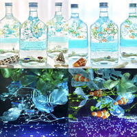 おうちで水族館♫癒しのブナの木のLEDライト2台&海の生き物泳ぐ白砂ビーチの海の世界2種アクアリウム