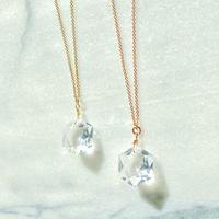 Sサイズ六芒星天然水晶 ピンクゴールド14kgf虹色の光ネックレス 最高品質