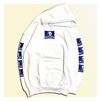 【SKULL SKATES】WHITE MOONSET(ホワイトxブルー) ロゴ フードスウェット