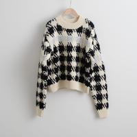 ALLEGE FEMME / Fur yarn check knit