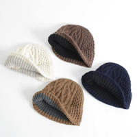 mature ha.  / Slant cutting knit cap aran2 lamb