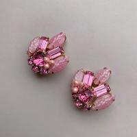 ピンクアートガラスバゲットカットガラスイヤリング