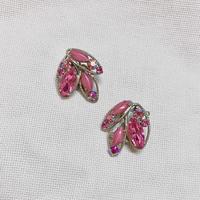 ピンクマーキスカットガラス オーロララインストーン イヤリング