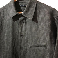 FRANK LEDER CHARCOAL DYED   FLAX STRIPE SHIRTS