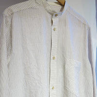 FRANK LEDER Crushed Cotton Striped Band Collar shirt