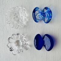 お花と蝶々のはしおき4個セット(透明と青と青マーブルー②)