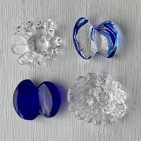 お花と蝶々のはしおき4個セット(透明と青と青マーブルー①)