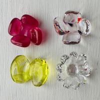 お花と蝶々のはしおき4個セット(ピンク・ミックス・透明・ライムグリーン①)