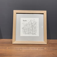 Map in Frame - KYOTO (black on white)