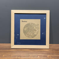 Map in Frame - BOSTON (black on brown)