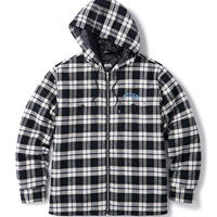 QUILTED HOODED PLAID NEL ZIP UP SHIRT FTC020AWSH04