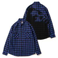 Print Check Nel Shirt [Blue]