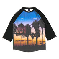 "Sunset Playground"" Raglan 3/4 Sleeve T-shirt"