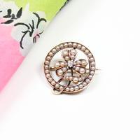 クローバーのサークルブローチ*diamond & pearl