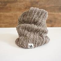 アラン編み風ニットのスヌード//セピア*フレブル服TiTiTi