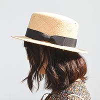石目ラフィア カンカン帽