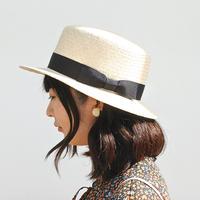 ラフィア綱代編み カンカン帽