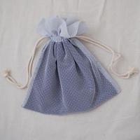 巾着バッグ(ブルーグレーチュール)