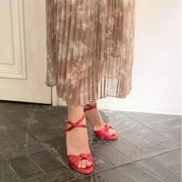 ノットデザインヒールトラップサンダル / Knot design heel trap sandals L0177(RED)