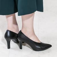 ポインテッドVカットヒールパンプス/ Pointed V-cut heel pumps L0193(BLACK)