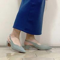 スカラップカットローヒールパンプス / Scallop cut Low Heel Pumps L0208 (L.GREEN)