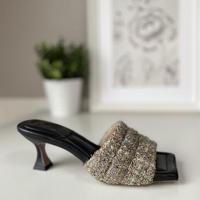 スクエアトゥキルティングミュールサンダル/Square to quilted mule sandals L0227(MIX)